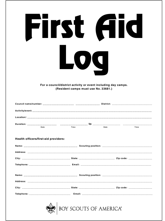 """""""First Aid Log - B' oy Scouts of America"""" Download Pdf"""