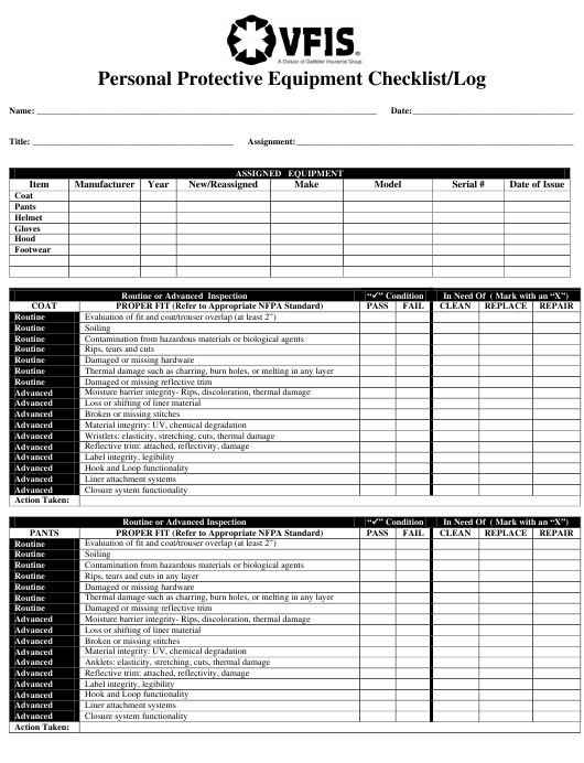 """Personal Protective Equipment Checklist/Log - Vfis"" Download Pdf"
