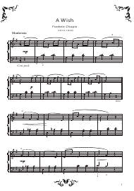 """Frederic Chopin - a Wish Piano Sheet Music"""