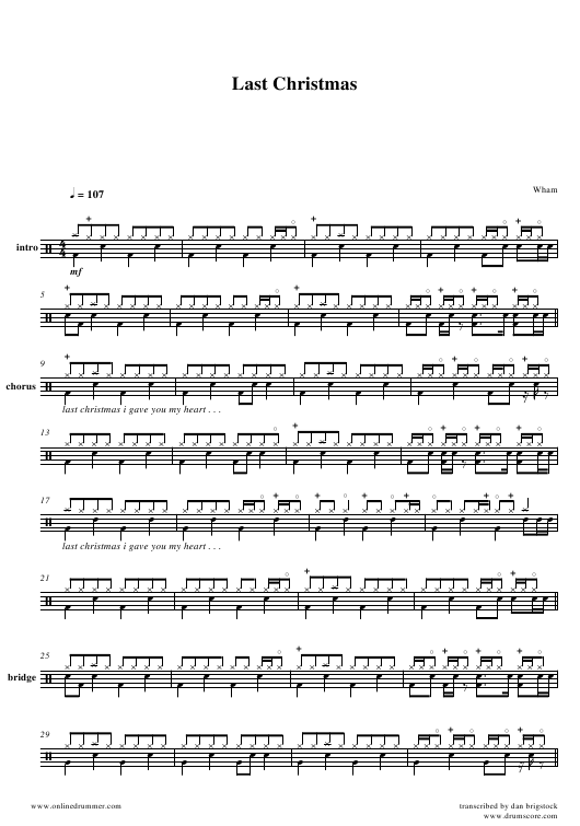 Wham - Last Christmas Drum Sheet Music