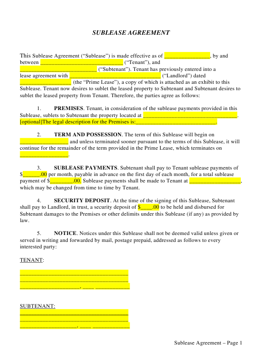 Sublease Agreement Template Download Pdf
