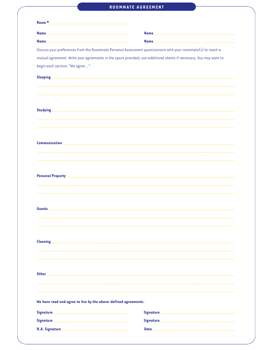 Roommate Agreement Template Download Pdf