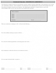 Residential Education Roommate Agreement Template