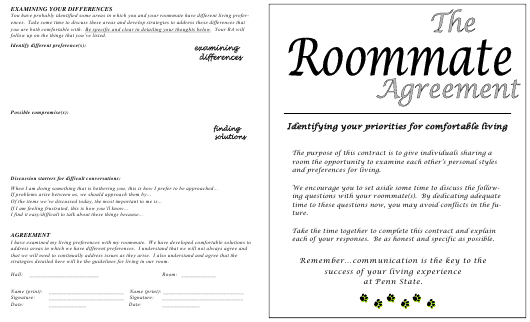 Roommate Agreement Template - Pennsylvania Download Pdf