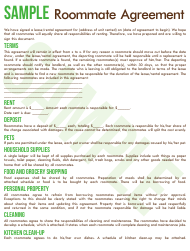 "Sample ""Roommate Agreement Template - Commuters Rit"""