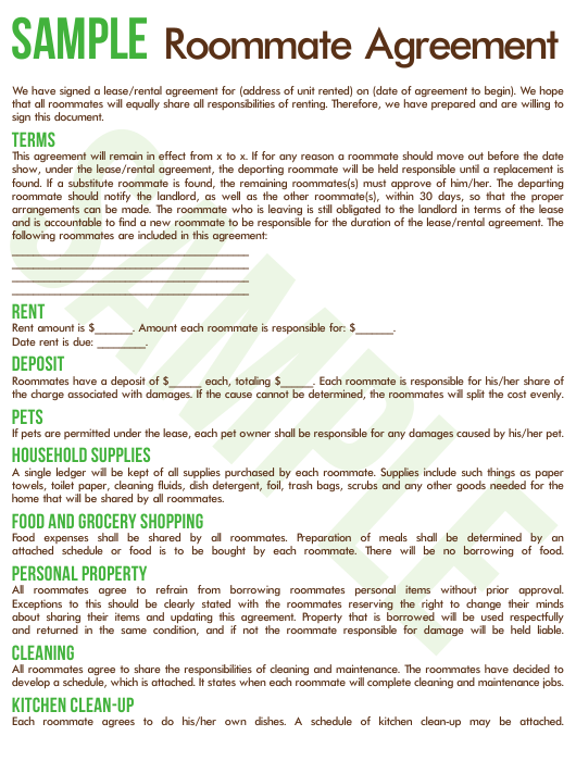 Sample Roommate Agreement Template - Commuters Rit Download Pdf