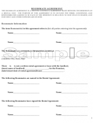 Sample Roommate Agreement Template