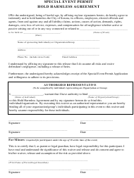 """""""Hold Harmless Agreement Template for Special Event Permit"""" - City of Sonora, California"""