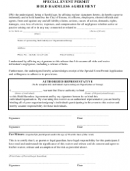 Hold Harmless Agreement Template For Special Event Permit - City of Sonora, California