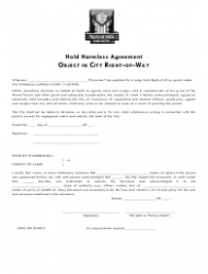 Hold Harmless Agreement Template for Object in City Right-Of-Way - City of Vancouver, Washington