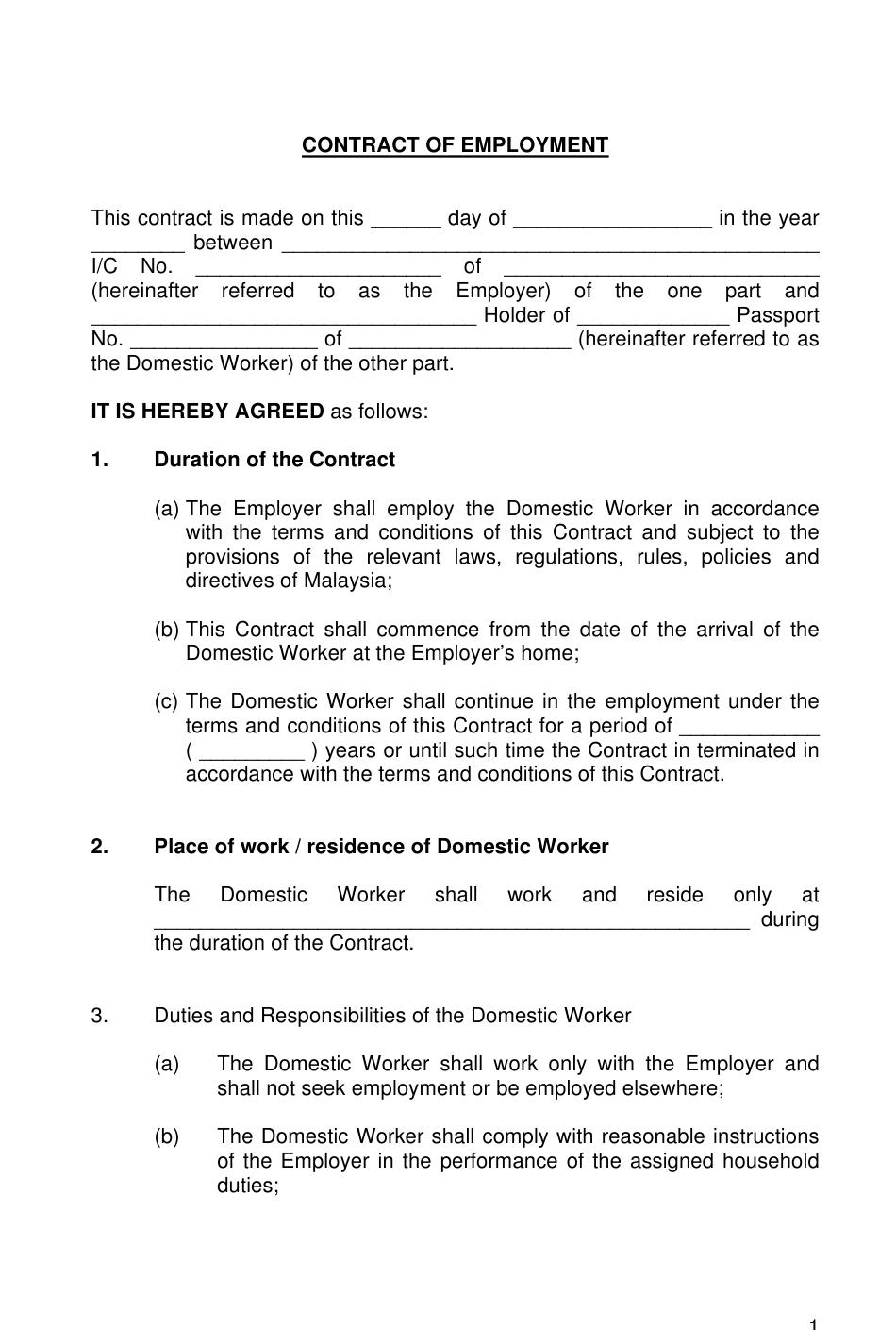 """""""Contract of Employment Template"""" - Malaysia Download Pdf"""