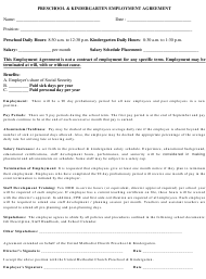 """Preschool & Kindergarten Employment Agreement Form"""