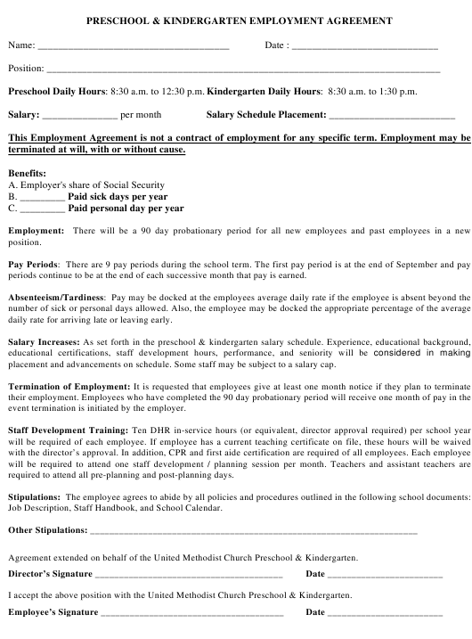 Preschool & Kindergarten Employment Agreement Form Download Pdf