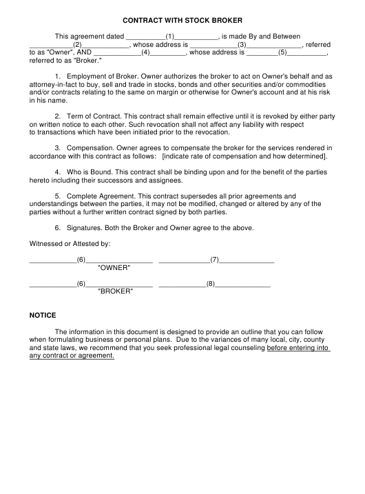 """Contract With Stock Broker Template"" Download Pdf"