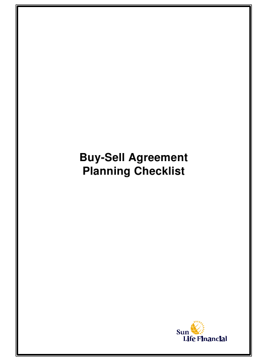 """Buy-Sell Agreement Planning Checklist Template - Sun Life Financial"" - Canada Download Pdf"