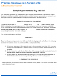 Sample Buy And Sell Agreement Template - Aicpa