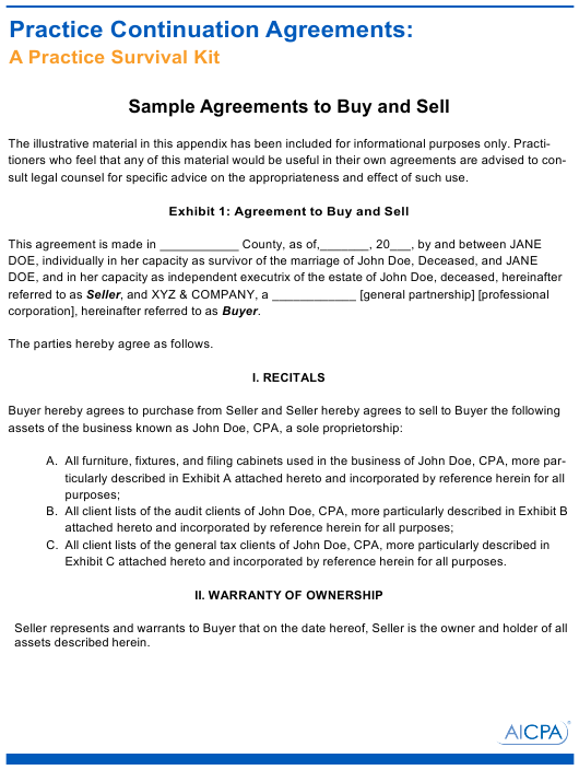 Sample Buy and Sell Agreement Template - Aicpa Download Pdf