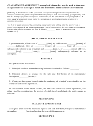 """Consignment Agreement Template"""