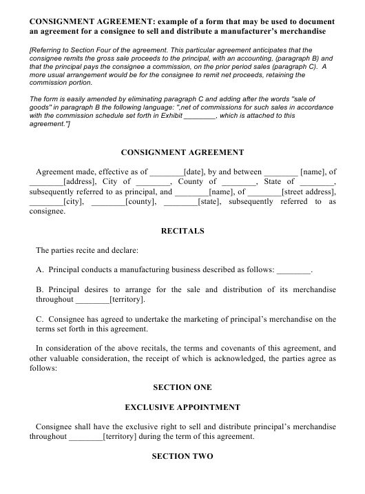 Consignment Agreement Template Download Pdf