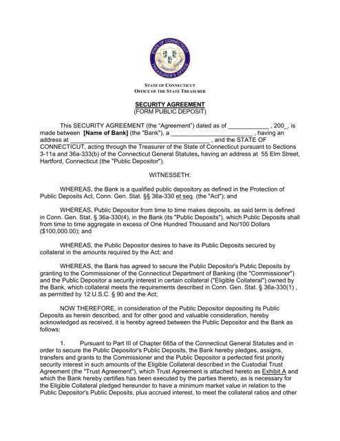 """""""Security Agreement (Form Public Deposit)"""" - Connecticut Download Pdf"""