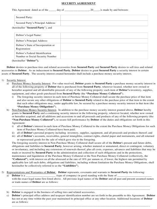 Security Agreement Template Download Pdf