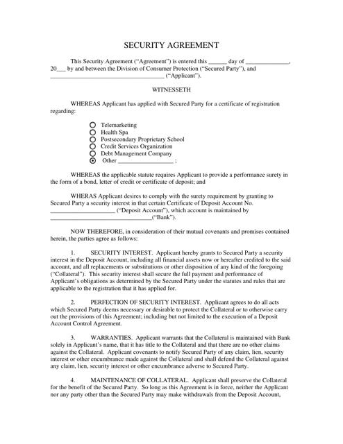 """Security Agreement Form"" - Salt Lake City, Utah Download Pdf"