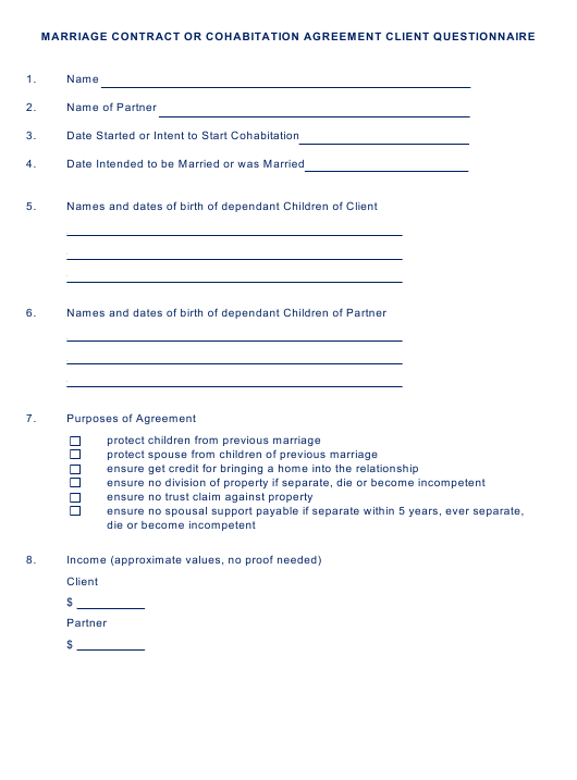 Marriage Contract or Cohabitation Agreement Client Questionnaire Template Download Pdf