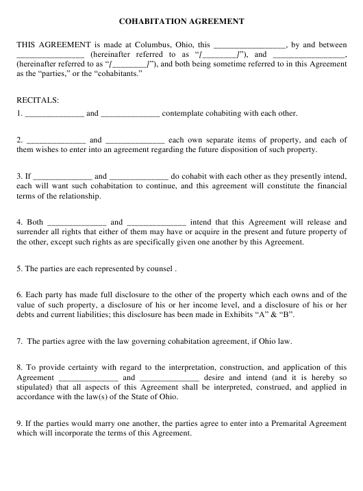 Cohabitation Agreement Form - City of Columbus, Ohio Download Pdf
