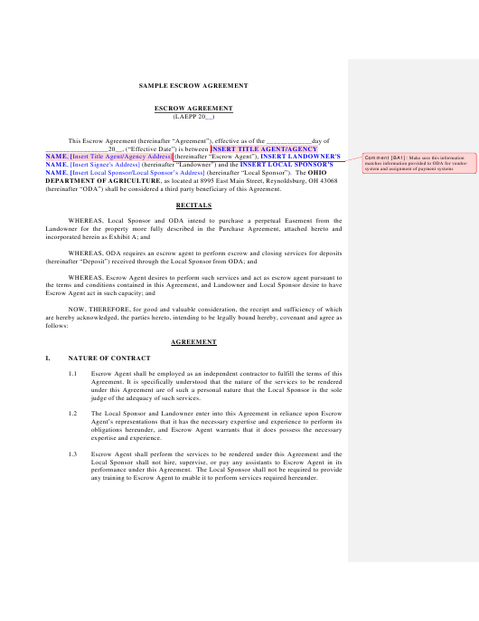 Sample Escrow Agreement Download Printable Pdf Page 10 Of 10