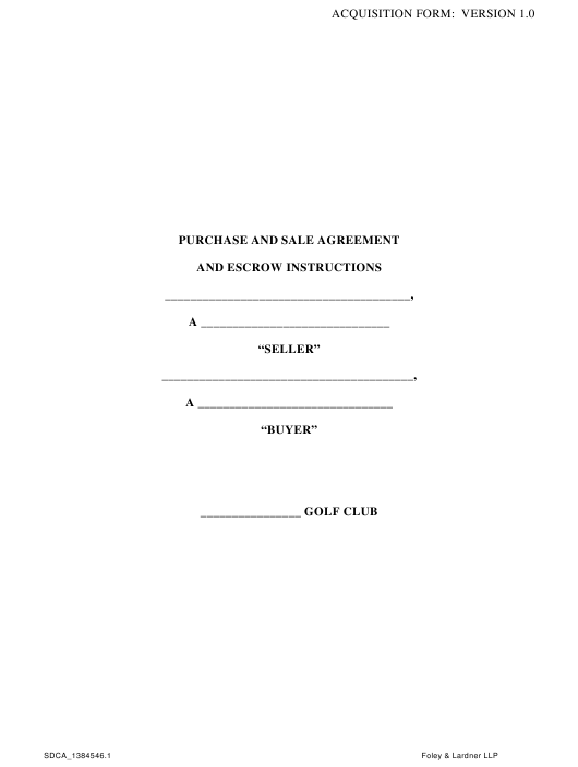 Purchase and Sale Agreement Template - Foley & Lardner Llp Download Pdf