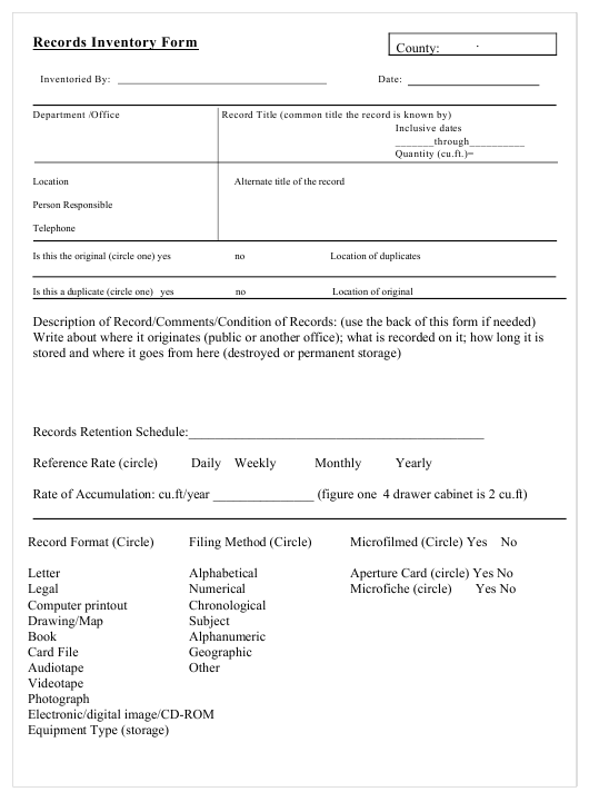"""Records Inventory Form"" Download Pdf"