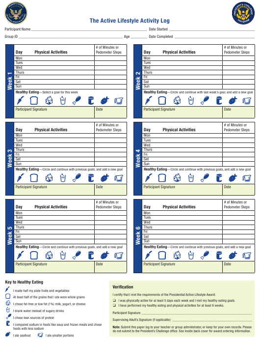"""The Active Lifestyle Activity Log Sheet"" Download Pdf"