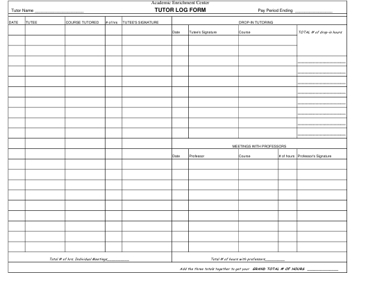 Tutor Log Form Download Pdf