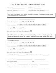 Direct Deposit Form - City of San Antonio, Texas