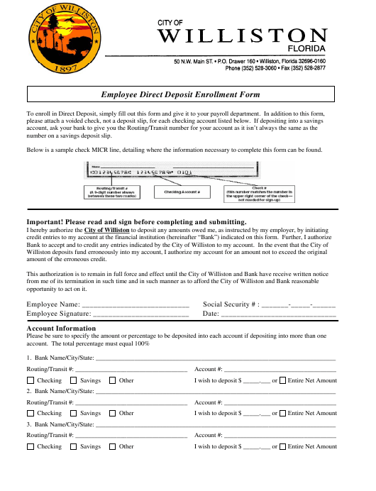 """Employee Direct Deposit Enrollment Form"" - City of Williston, Florida Download Pdf"