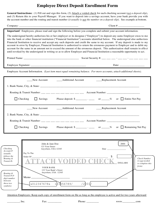 """Employee Direct Deposit Enrollment Form"" Download Pdf"
