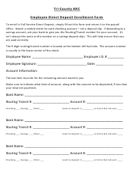 """Employee Direct Deposit Enrollment Form - Tri-County Arc"""