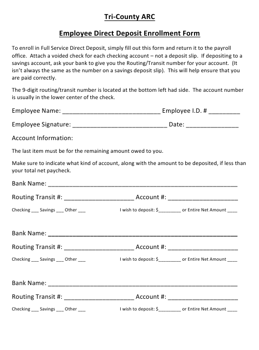 """Employee Direct Deposit Enrollment Form - Tri-County Arc"" Download Pdf"