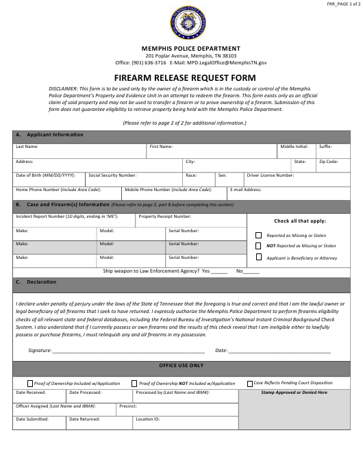 """Firearm Release Request Form"" - City of Memphis, Tennessee Download Pdf"