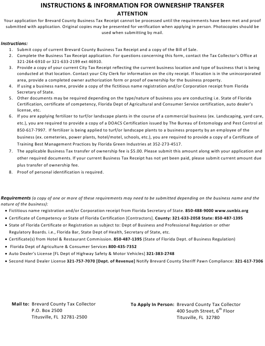 """Application for Brevard County Business Tax Receipt"" - Brevard County, Florida Download Pdf"