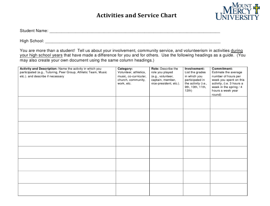 """Activities and Service Chart Template - Mount Mercy University"" Download Pdf"