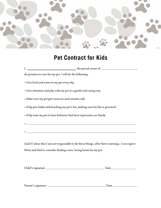 """""""Pet Contract Template for Kids"""" Download Pdf"""