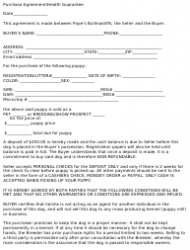 Dog's Purchase Agreement/Health Guarantee Template