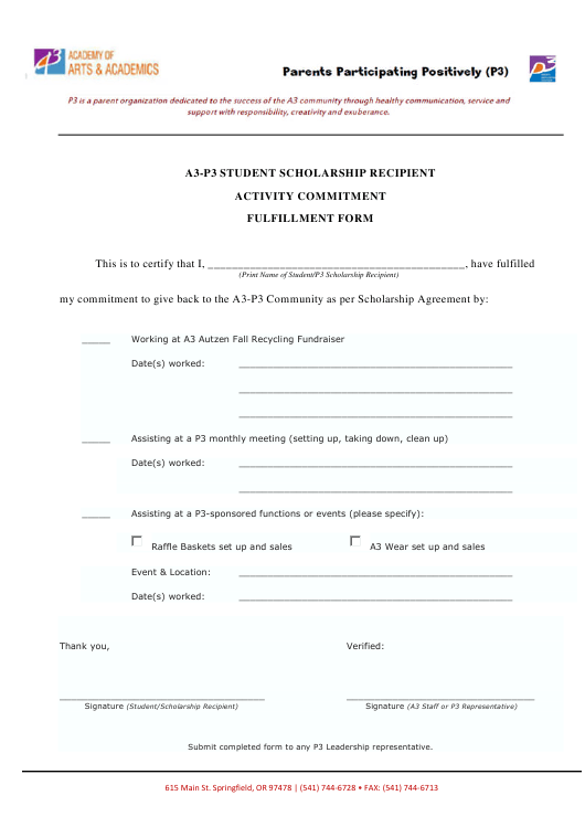 """Student Scholarship Recipient Activity Commitment Fulfillment Form - Academy of Arts and Academics"" Download Pdf"
