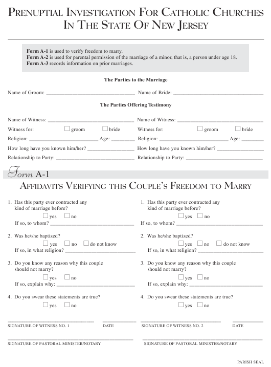 Prenuptial Investigation Form for Catholic Churches - New Jersey Download Pdf