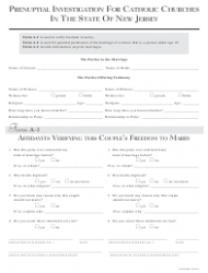 Prenuptial Investigation Form for Catholic Churches - New Jersey