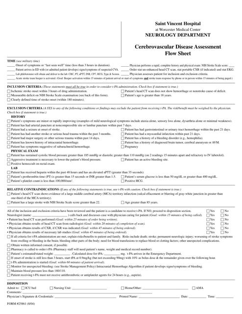 """""""Cerebrovascular Disease Assessment Flow Sheet - Saint Vincent Hospital"""" Download Pdf"""