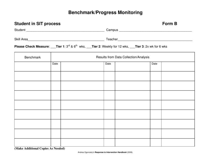 """""""Benchmark or Progress Monitoring Sheet"""" Download Pdf"""