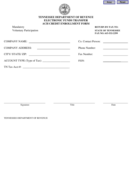 """""""Electronic Funds Transfer ACH Credit Enrollment Form"""" - Tennessee Download Pdf"""