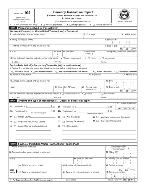 FinCEN Form 104  Printable Pdf